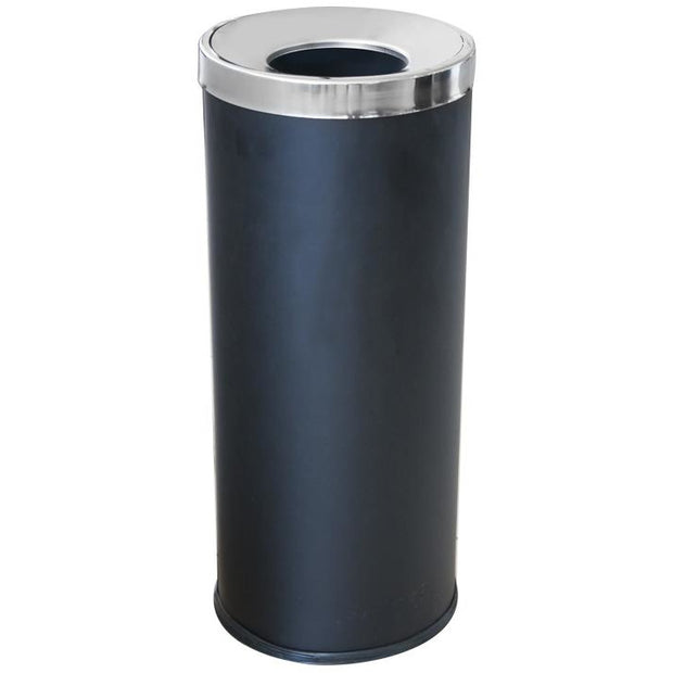 Round metal trash can with inner bucket black 74 litres