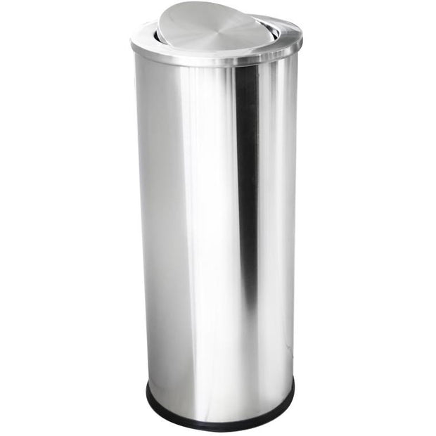 Round metal trash can with swinging lid and inner bucket 70 litres
