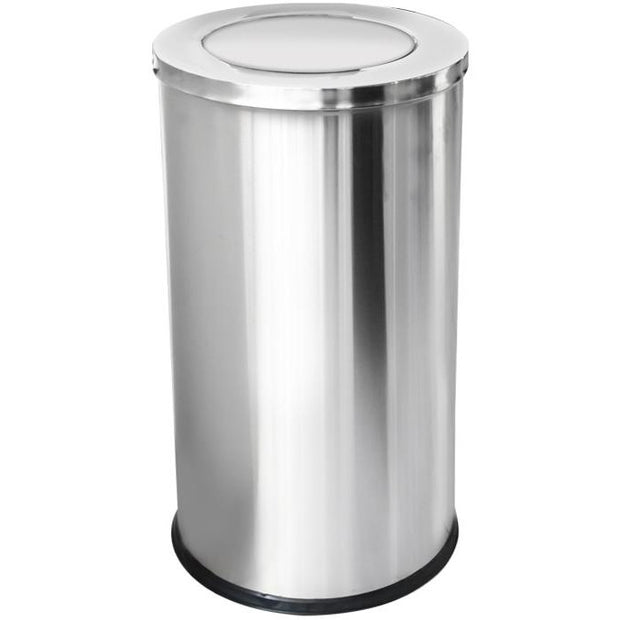 Round metal trash can with swinging lid and inner bucket 80 litres