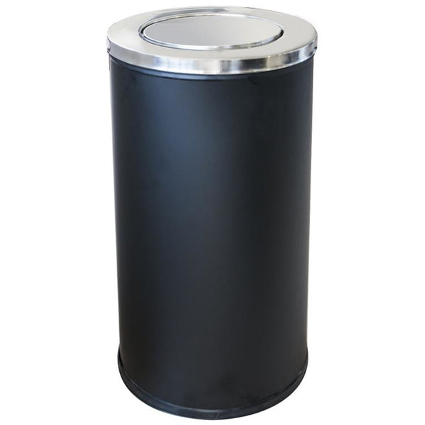 Round metal trash can with swinging lid and inner bucket black 80 litres