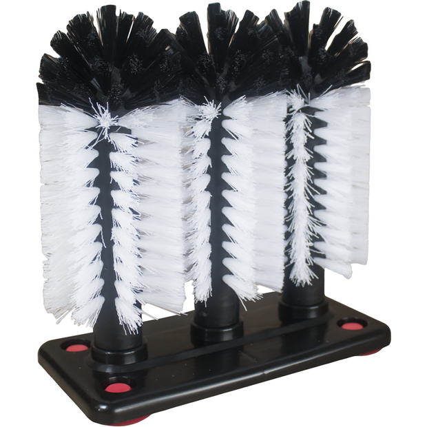Set of three brushes for washing glasses with suction feet