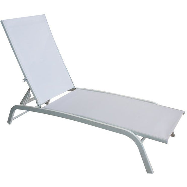 Sunbed with steel frame white 188cm