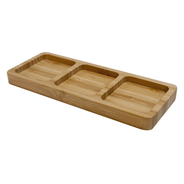 Rectangular bamboo serving board with 3 compartments 25.5cm