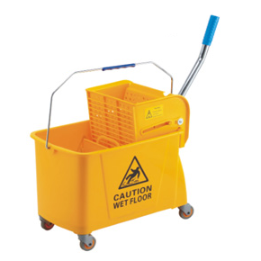 Single mop trolley with wringer yellow 20 litres
