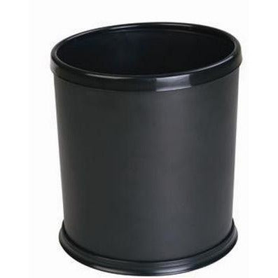 Round indoor trash bin with movable ring for liner, black