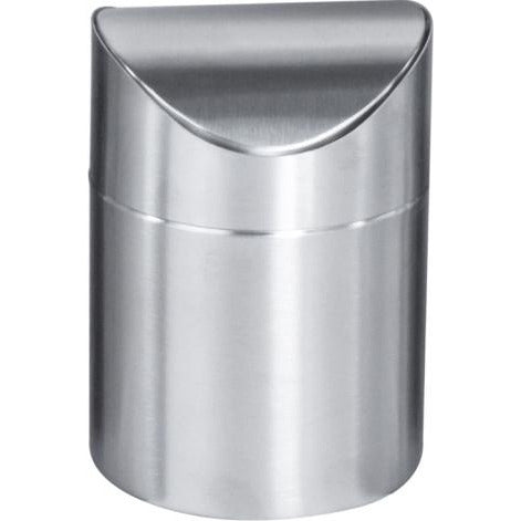 Round metal table bin with swinging lid 1.25 litres