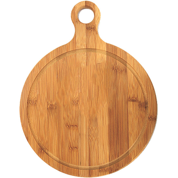 Bamboo round board with handle 33cm