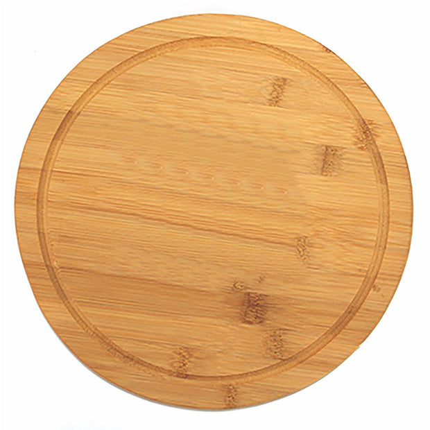 Round bamboo board with juice groove 28cm