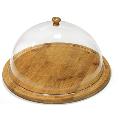Bamboo round serving board with lid 29.5cm