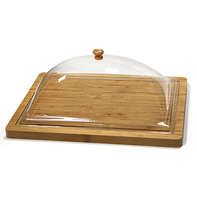 Bamboo rectangular serving board with lid 37.5cm