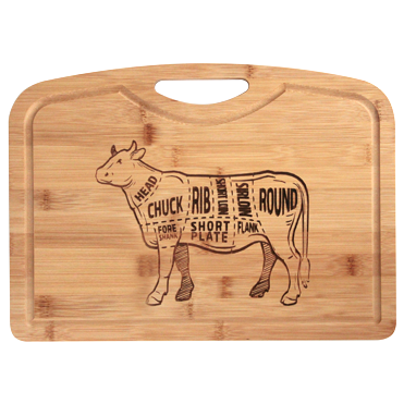 Engraved bamboo board with juice groove 33cm