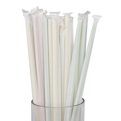 Packet of 200 individually wrapped white plastic straws 19.7cm