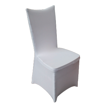White elastic cover for catering chair with square back