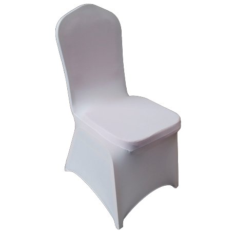 White elastic cover for catering chair with round back