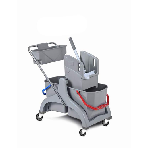 HUNTER Plastic cleaning cart with mop wringer and two 25 litre mop buckets