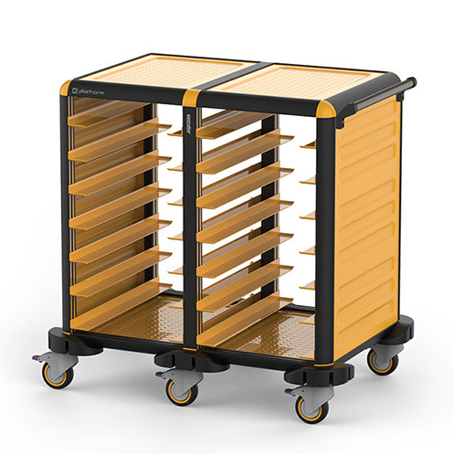 Trolley with 2x7 shelves for tray size 37x53cm