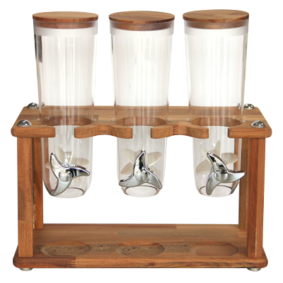 Bamboo cereal dispenser with 3 containers on stand