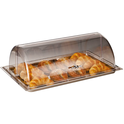 Polycarbonate roll top lid with stainless steel base 44cm