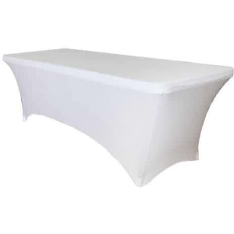 White elastic cover for cataring table 244cm