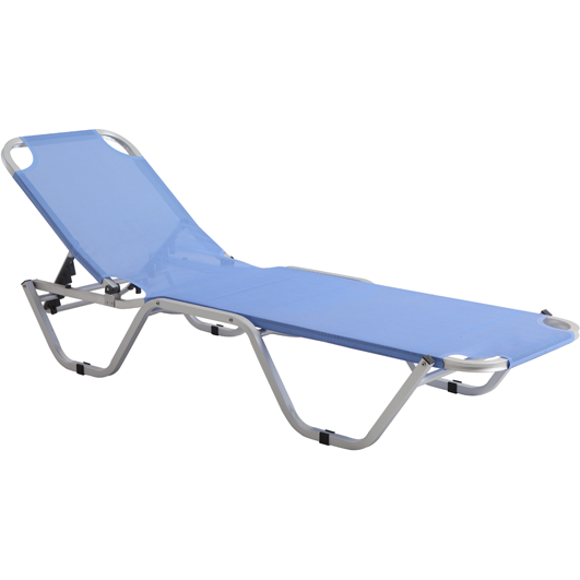 Sunbed 5 position light blue 195cm