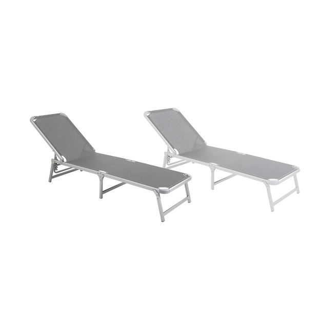 Sunbed folding 4 position grey 188cm