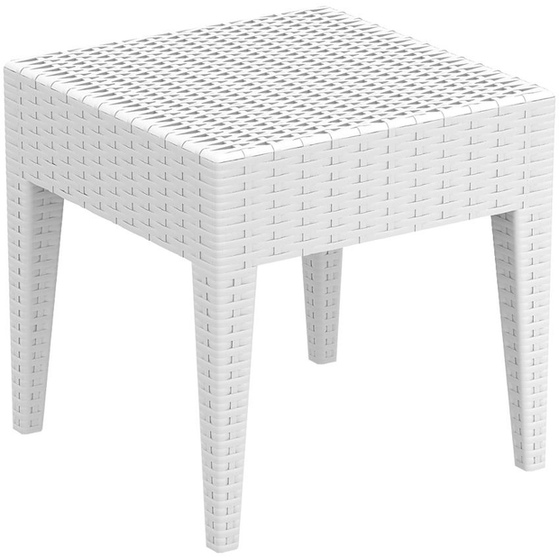 Square sun bed side table white 45