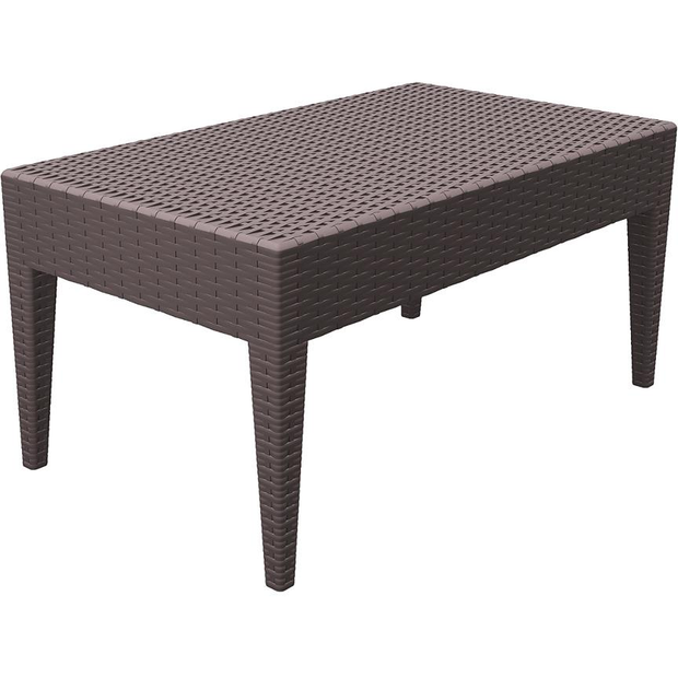 "Rectangular sun bed side table brown ""Miami"" 92cm"