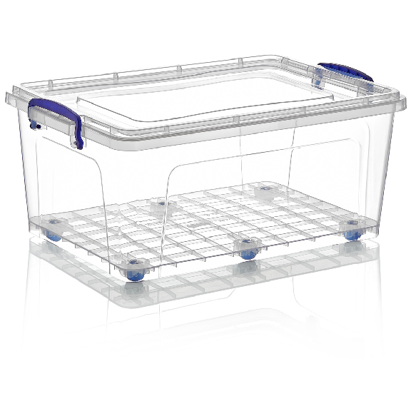 Rectangular storage box on wheels with lid 30 litres