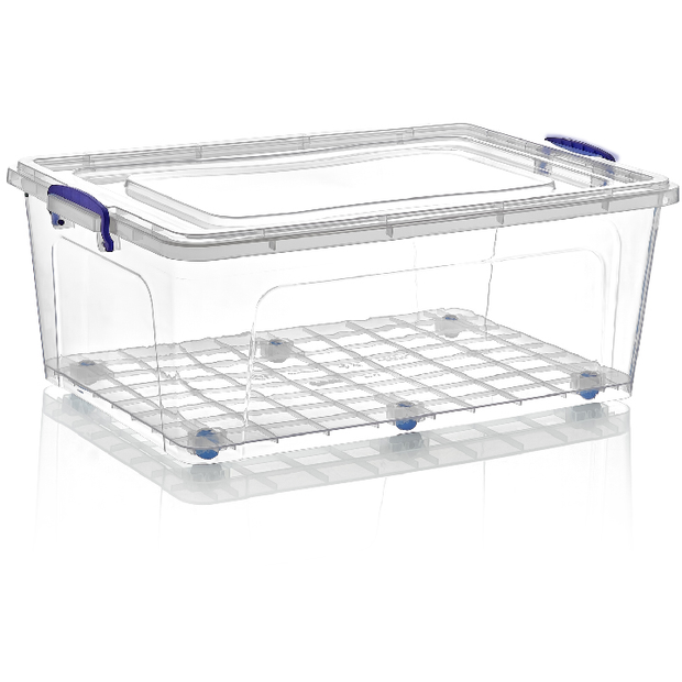 Rectangular storage box on wheels with lid 58 litres
