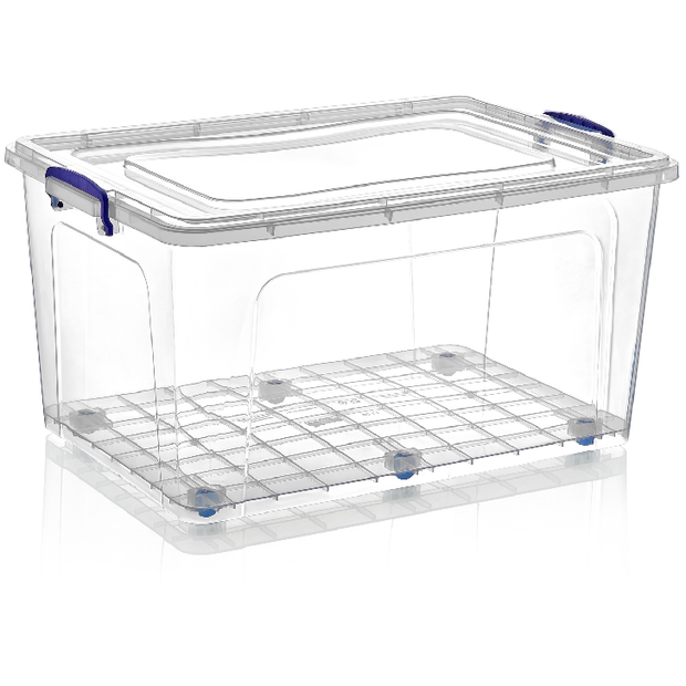Rectangular deep storage box on wheels with lid 80 litres