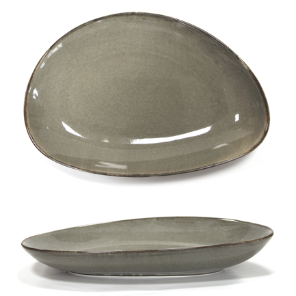 HORECANO Antique grey Oval deep plate 25cm