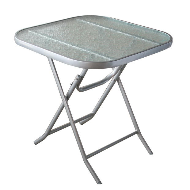 Square metal folding table with glass top 70cm