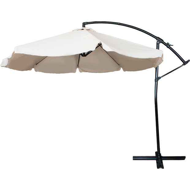 Push up offset umbrella white 3m