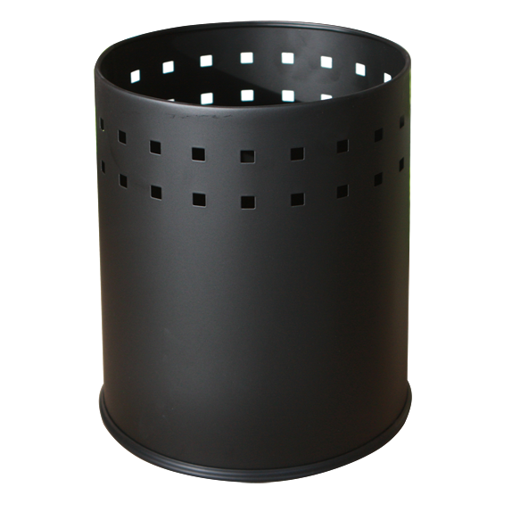 Round metal trash can black 5 litres