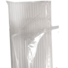 Packet of 100 transparent plastic flexible straws 26cm