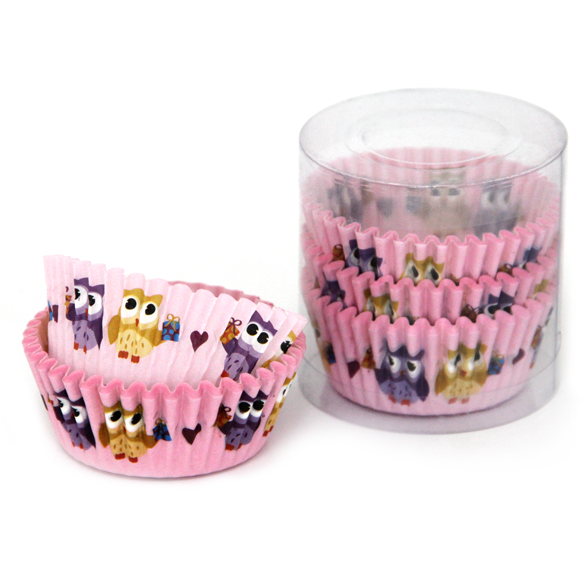 "Set of 100 round muffin cups ""Owls"""
