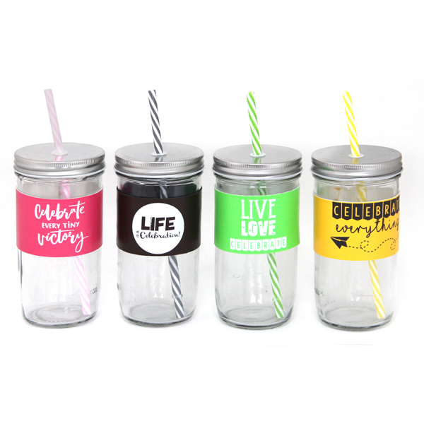 Glass cup with straw 600ml