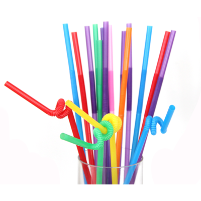 Packet of 100 coloured plastic flexible straws