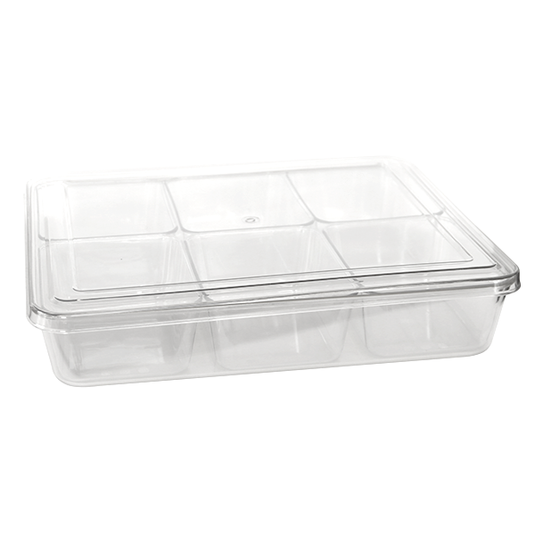 Polycarbonate condiment organiser with 6 compartments