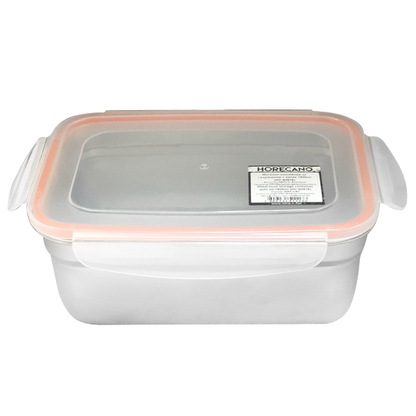 Stainless steel food storage container with plastic lid 1.5 litres