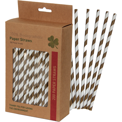 "Box of 200 ""brown"" paper straws"