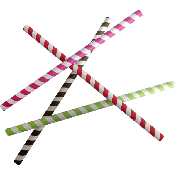 Packet of 50 Striped coloured straws 25cm