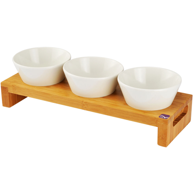 Set of 3 pcs melamine bowls with bamboo tray 49cm