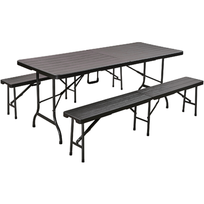 Folding table set with brown wooden design 179cm