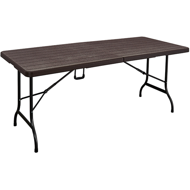 Folding rectangular table with  brown wooden design 180cm