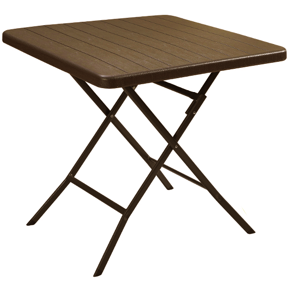 Folding square table with brown wooden design 78x78x74cm