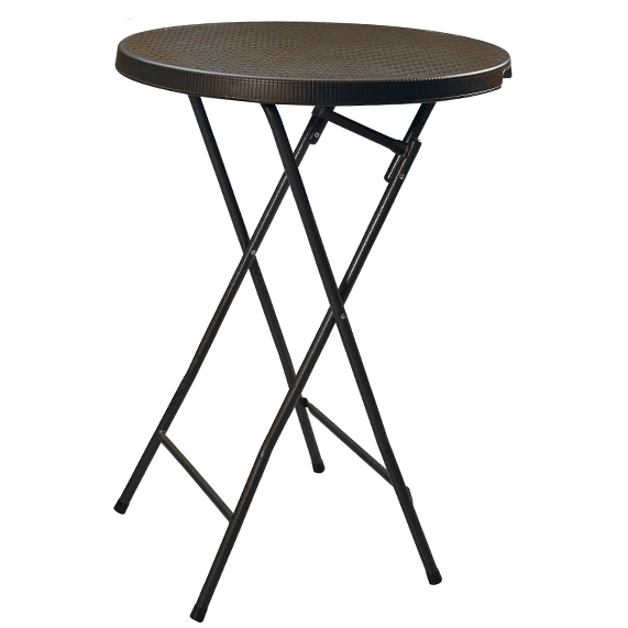 Folding round bar table with brown wooden design 80cm