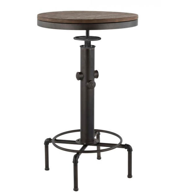 "Adjustable bar table black/wood ""Antique-Old school"" 56cm"