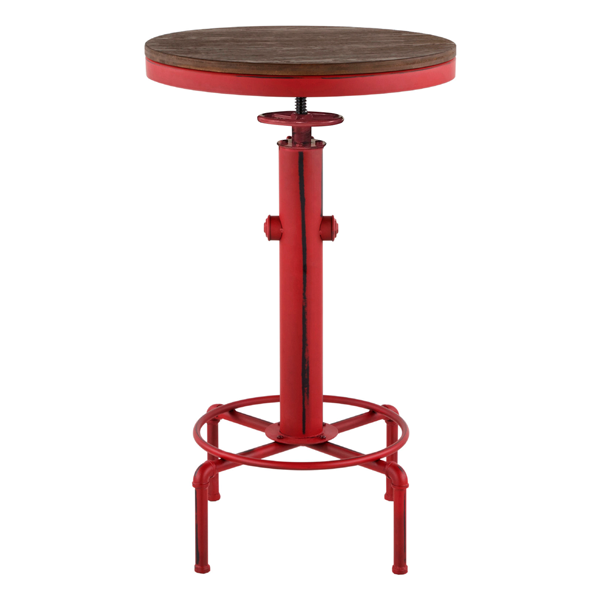 "Metal adjustable bar table red/wood ""Antique-Old school"" 56cm"
