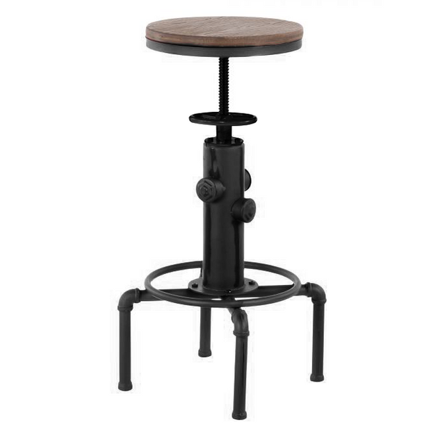 "Adjustable bar chair black/wood ""Antique-Old school"" 33cm"
